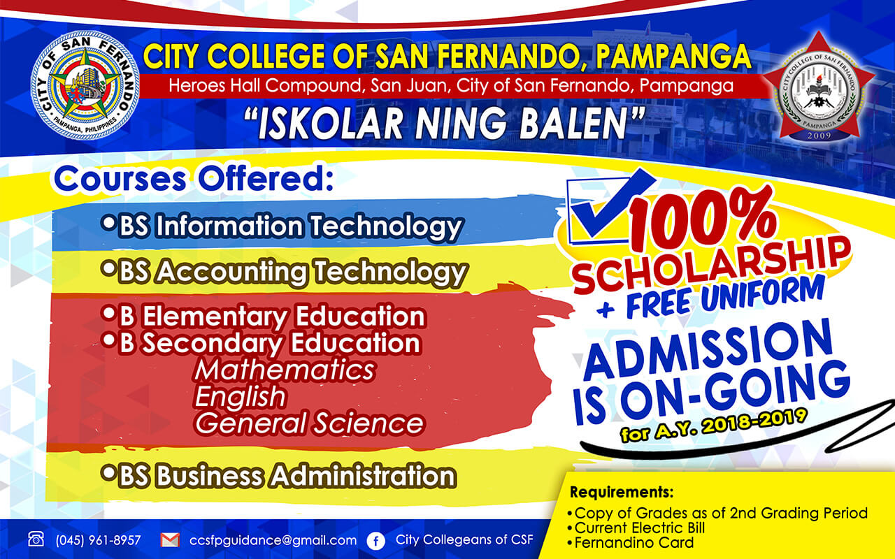 100% Scholarship + FREE Uniform Admission is on-going for A.Y. 2018-2019